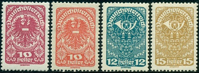 The New Major Type Definitive Postage Austria Stamps Shown Above Were Issued Between 1919 And 1920 There Are Quite A Few Listed Shade Varieties For Some Of