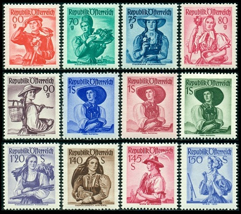 The Thirty Six Major Type Regional Costumes Definitive Austria Stamps Shown Above Mi 893 26 978 80 Sc 520 56 Were Issued Beginning In June 1948
