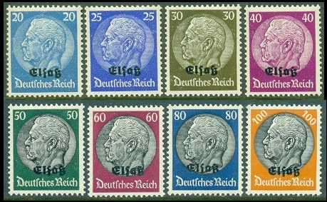 The Sixteen Of Overprinted German Stamps Shown Above Mi 1 16 Sc France N27 42 Were Issued On August 15 1940 For Use In Newly Occupied Alsace
