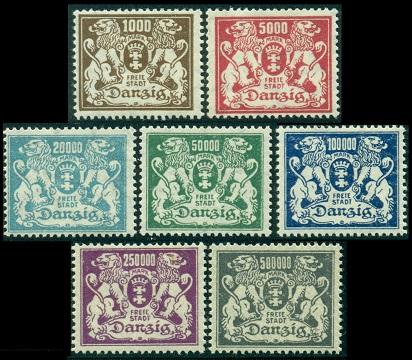1923 г. Данциг (Mi. # 151-57, Sc. # 127-35)