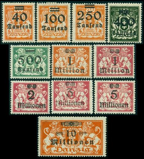 1923 г. Данциг (Mi. # 158 - 168 Sc. # 137-47)