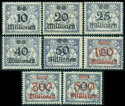 1923 г. Данциг (Mi. # 169 - 176 ,Sc. # 148-55 )