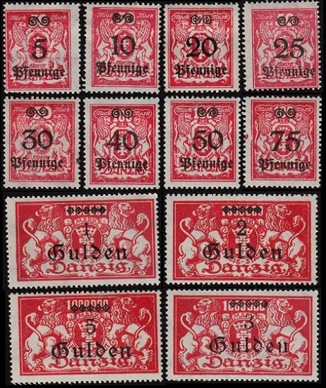 1923 г. Данциг, (Mi. # 181-92, Sc. # 156-67)