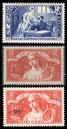 French Stamps Charity Stamps Of 1935 1937