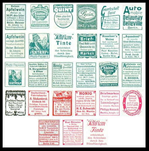 Continuing Through May 1912 The Imperial Post Began Incorporating Printed Reklamen Or Advertising Labels Into Panes In Each Of Stamp Booklets