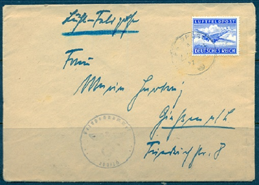Shown Above Is A Feldpost Cover Franked With The Perforated Military Airmail Stamp Script Used By This Soldier Nearly Impossible To Read
