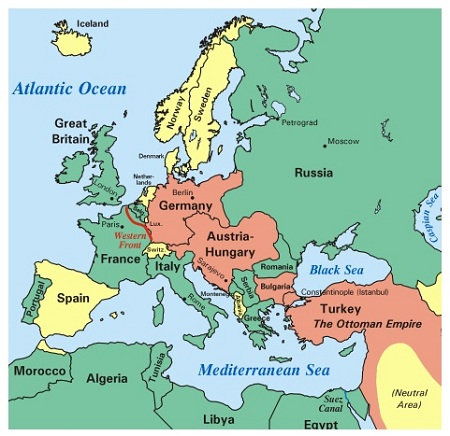the map above shows the european theater of world war i in 1917 the countries in salmon are the german empire the austro hungarian empire bulgaria
