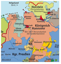 German States Stamps Hannover - Germany map in 1850
