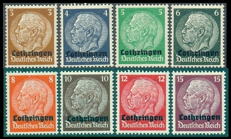 The Sixteen Overprinted German Stamps Shown Above Mi 1 16 Sc France N43 58 Were Issued On August 21 1940 For Use In Newly Occupied Lorraine