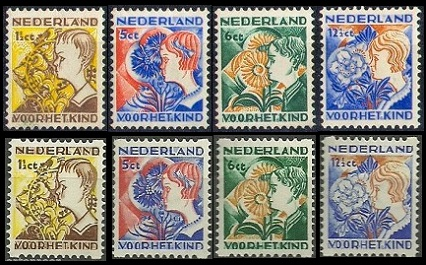 The Surtaxed Child Welfare Netherlands Stamps Shown Above NVPH 248 51 R94 97 Sc B58 61 B58a 61a Were Issued On December 10 1932