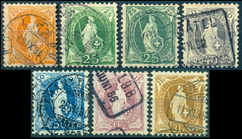 Swiss Stamps - Standing Helvetia Issues of 1882-1907