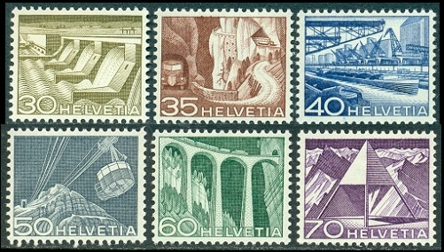 Swiss Stamps Technology And Landscape Definitives Of 1949