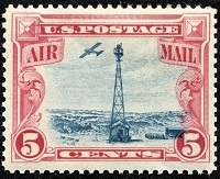 The 5 Cent Denomination US Airmail Stamp Shown Above Sc C11 Was Issued July 25 1928 To Meet New Letter Postage Rate