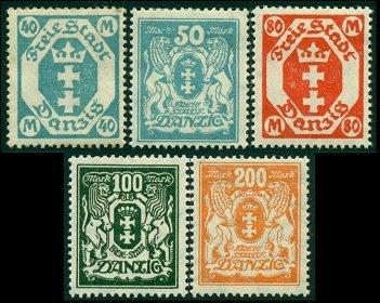 1923 г. Данциг (Mi. # 138-42, Sc. # 104-05, # 113-15)