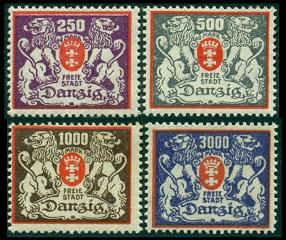 1923 г. Данциг (Mi. # 143-46, Sc. # 117, # 119-21)