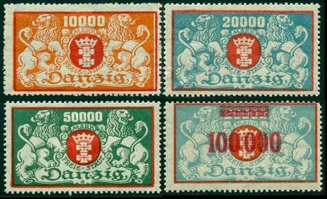 1923 г. Данциг (Mi. # 147-50, Sc. # 123-26)